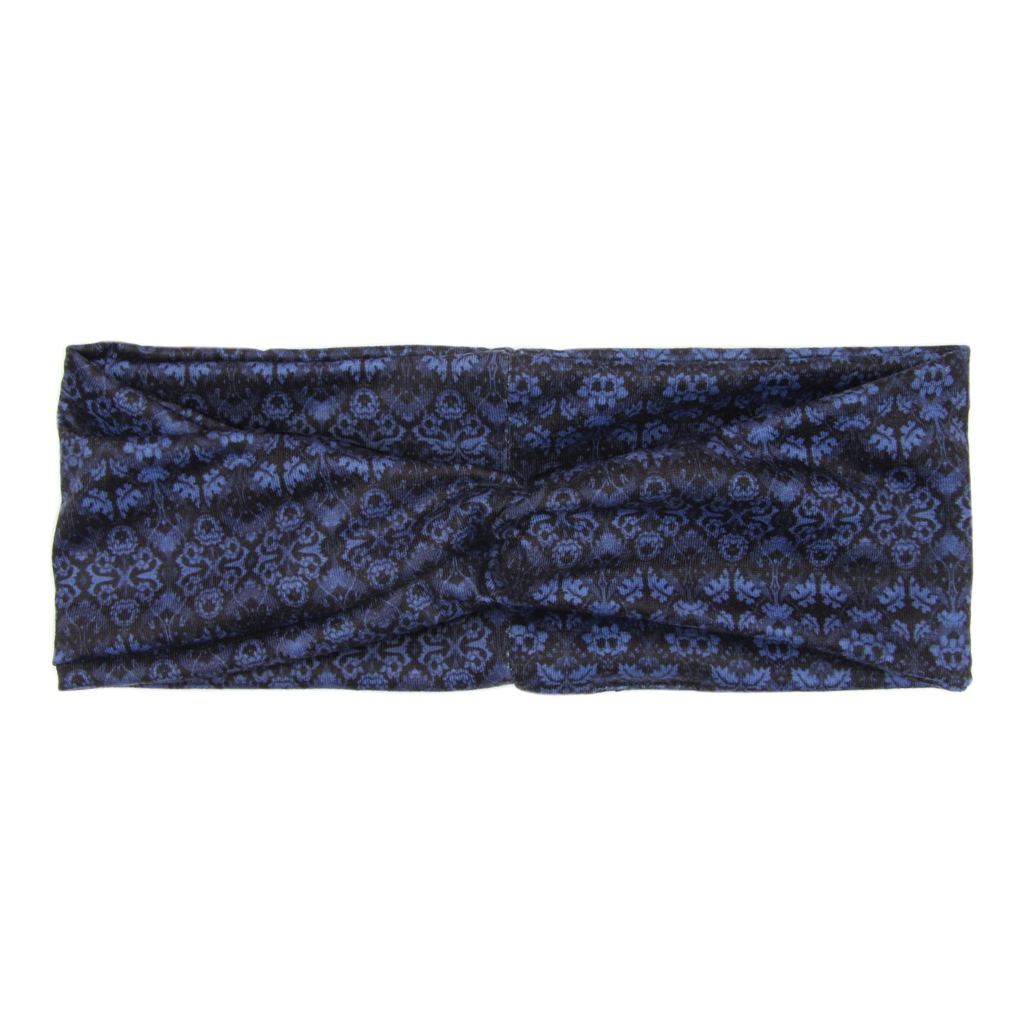 BANDED Women's Headwraps + Hair Accessories - Blue Brocade - Classic Twist Headwrap