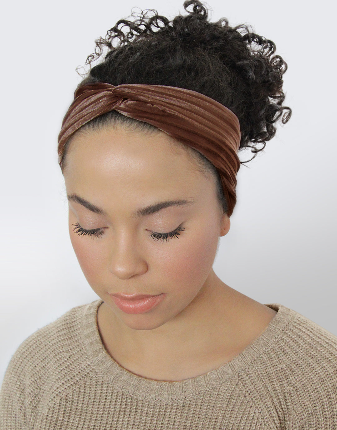 Harvest Clay - Ribbed Velvet Twist Headwrap