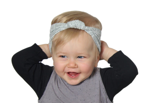 Soft Gray Daisy - Baby Knot Turban