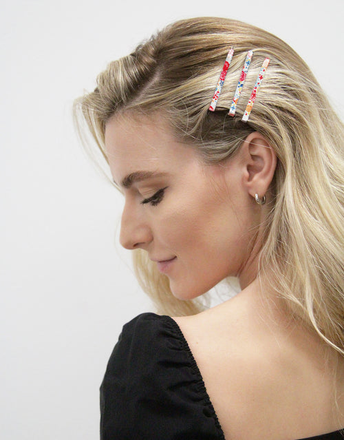 BANDED Hair Accessories - Flamenco Floral + Dot - Bobby Pins