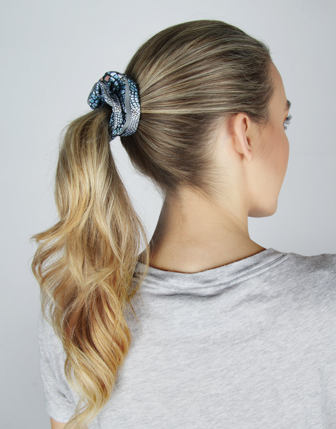 Blue Cobblestone - 2 Pack Reflective Athletic Scrunchies