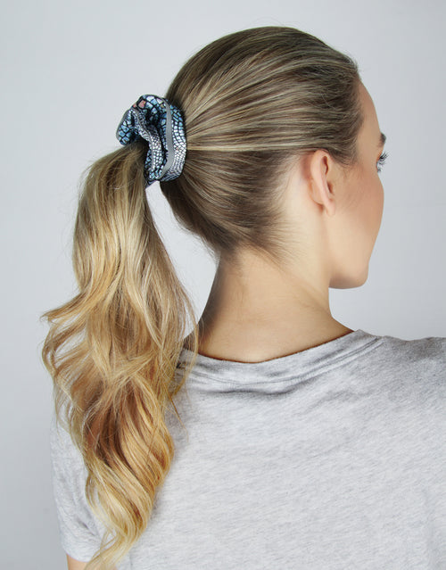 BANDED Women's Premium Hair Accessories - Blue Cobblestone - 2 Pack Reflective Athletic Scrunchies