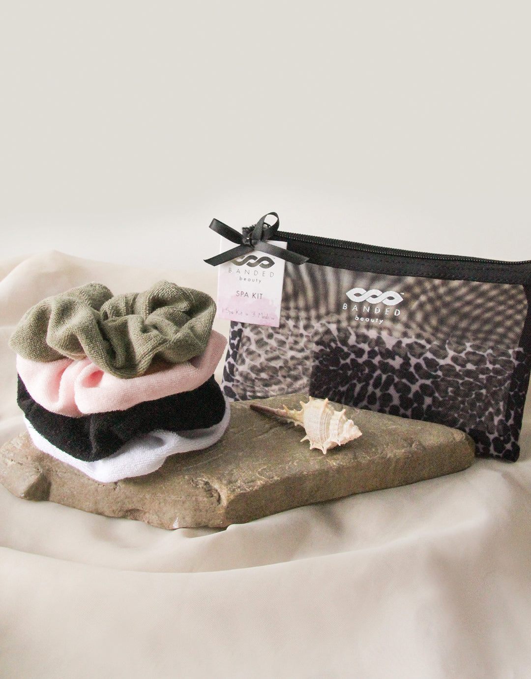 BANDED Women's Premium Hair Accessories + Gift Sets - Leopard Noir - Scrunchie Spa Set