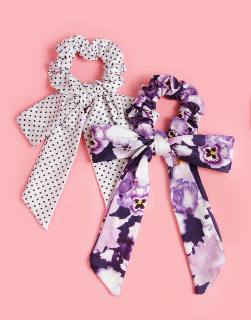 Giverny Pansy - 2 Pack Scrunchie Bowties