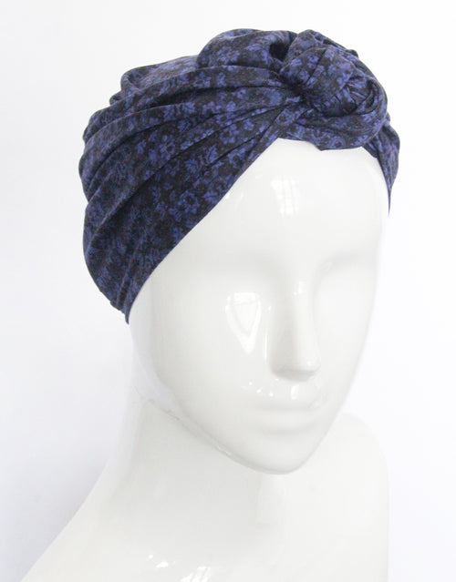 BANDED Women's Full Coverage Headwraps + Hair Accessories - Blue Brocade - Multi-style Headwrap
