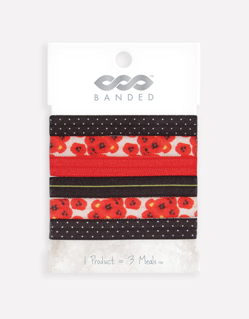BANDED Women's Hair Ties + Accessories - Provincial Poppy - Narrow Ties