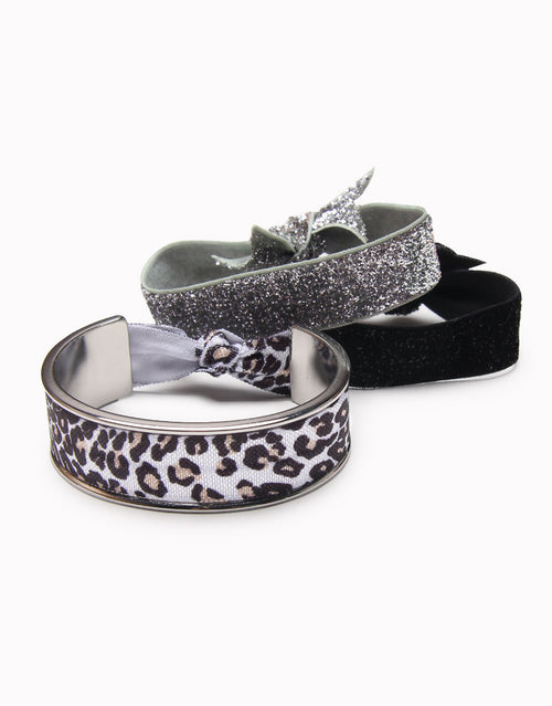 BANDED Women's Hair Ties + Accessories - Leopard Sparkle - Shiny Silver Classic Hair Tie Bracelet