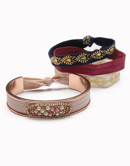 BANDED Women's Hair Ties + Accessories - Prague - Shiny Rose Gold Narrow Hair Tie Bracelet