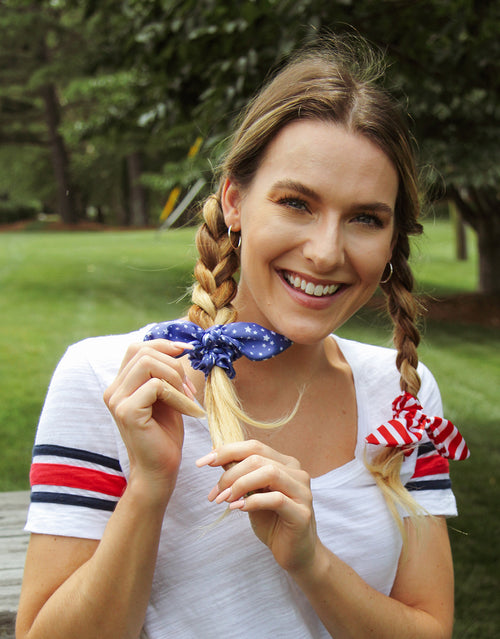 BANDED Women's Premium Hair Accessories - Stars + Stripes - 2 Pack Bow Scrunchies