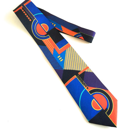 Pangborn Geometrics Silk Tie in blue, red, black