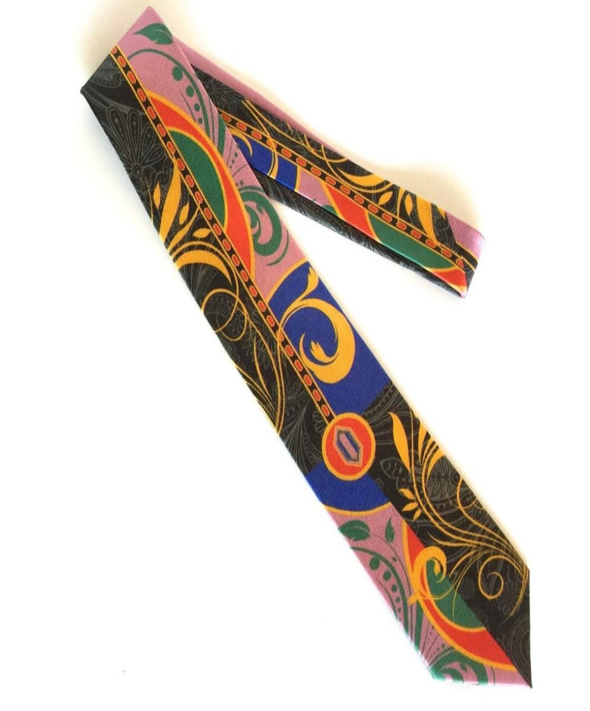 Pangborn Enchantment Silk Tie on black, rose