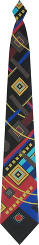 Geometrics woven tie on black