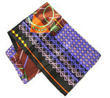 Graphics on Black Face Mask - Geometrics on Black Silk Scarf