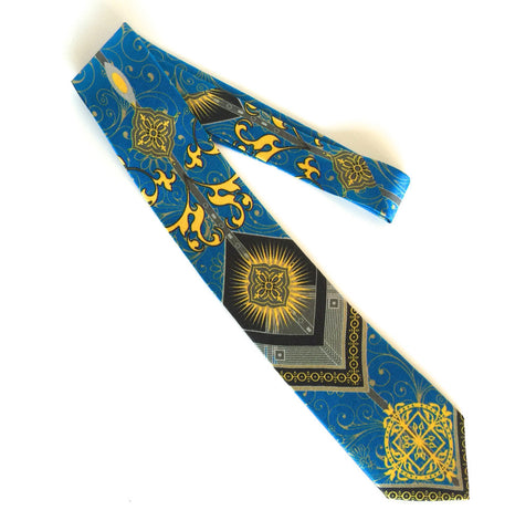 Pangborn Fortune Silk Tie blue, gold, and black