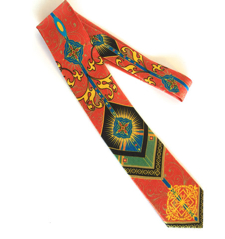 Pangborn Fortune Silk Tie in red, gold, and black