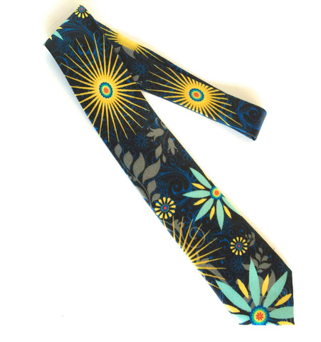 Pangborn Free Spirit Silk Tie in black, mint green