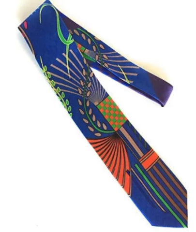 Pangborn Jubilation Silk Tie in blue, deep orange
