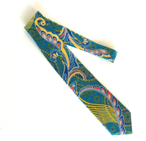 Pangborn Profusion Silk Tie in aqua, yellow