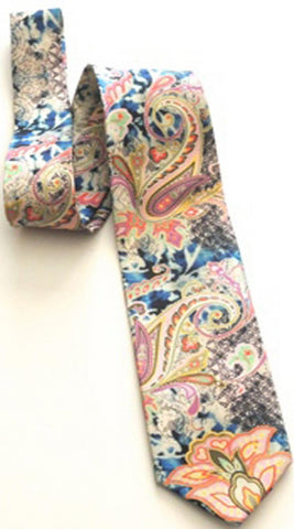 Pangborn Regal Blue and Pink Batik Silk Tie