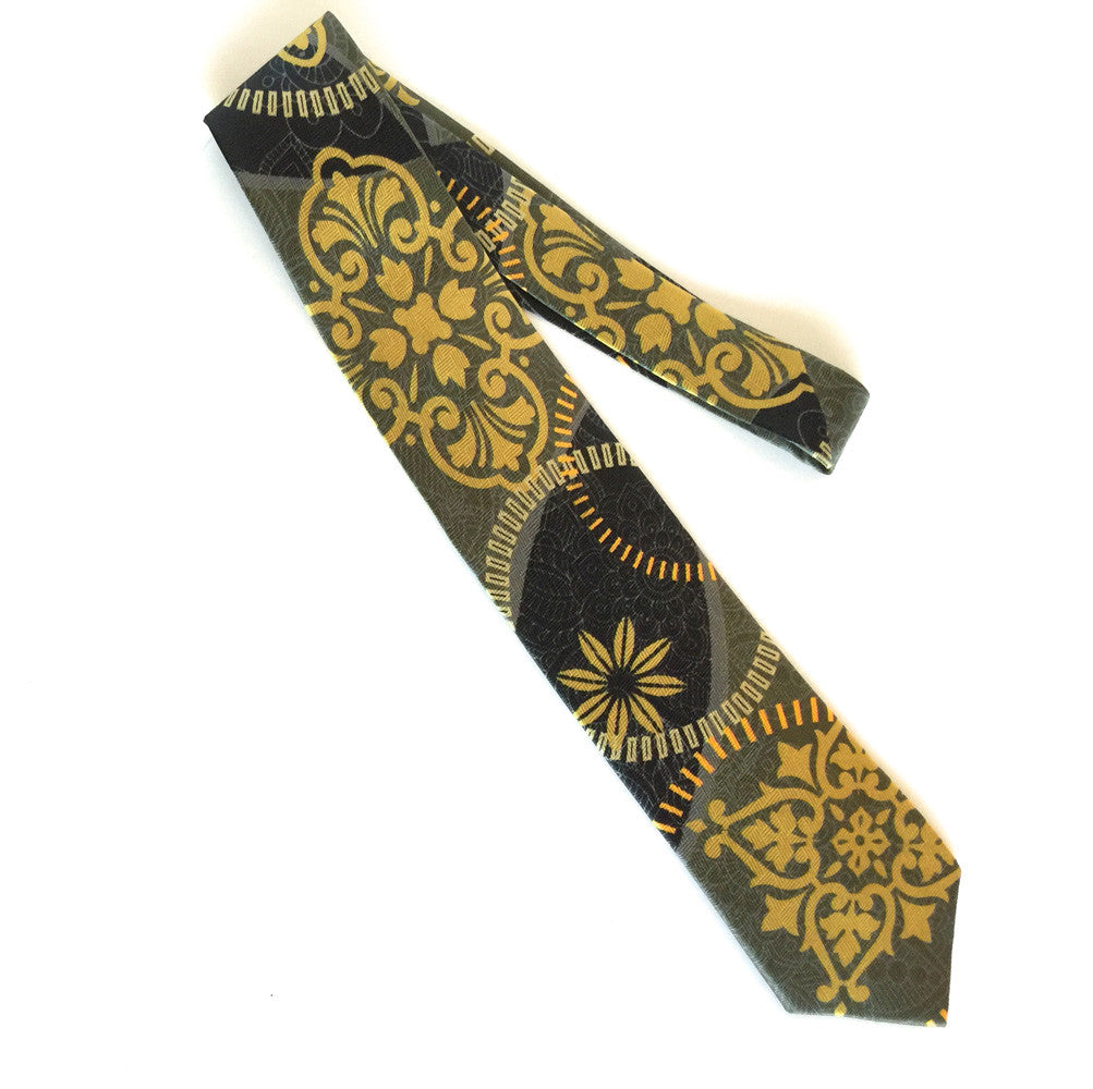 Pangborn Radiance Silk Tie in black, gray, gold