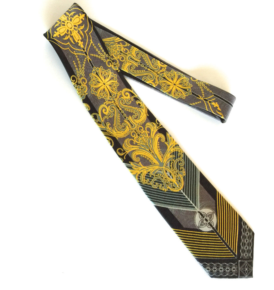 Pangborn Retro Silk Tie in yellow, black