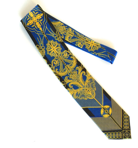 Pangborn Retro Silk Tie in yellow, blue