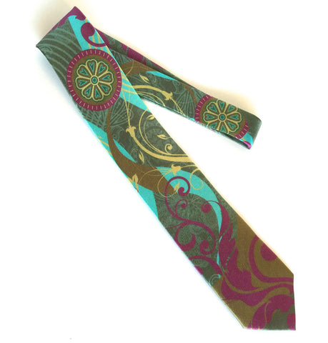 Pangborn Tranquility Silk Tie in teal, burgundy