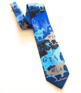 Pangborn Abstract Horse Theme Necktie in shades of blue