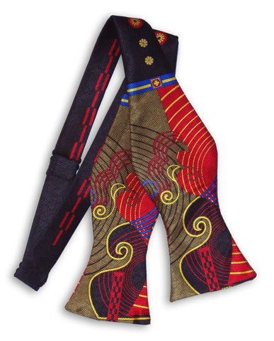 Pangborn Bowtie - Red and Olive Swirls, Black Accents