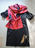 Red & Black Poppies XL Oblong Silk Scarf