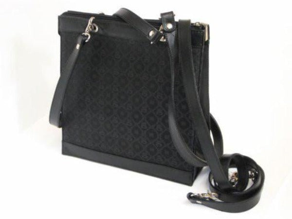 Pangborn Black Silk with Leather Trim Handbag