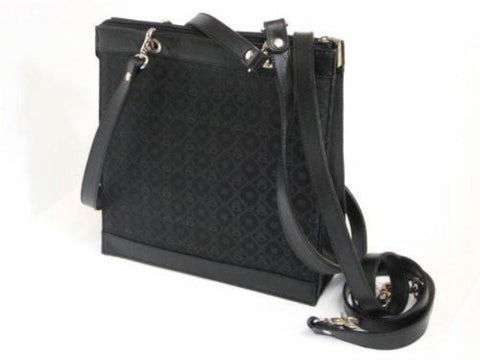 Pangborn Black Leather and Silk Handbag
