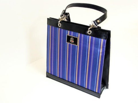 Blue Striped Silk and Leather Handbag