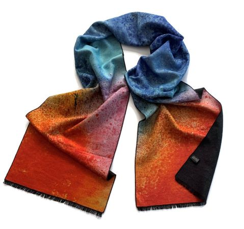 Brushed Silk XL Scarf - Soft Blue, Lavender and Orange