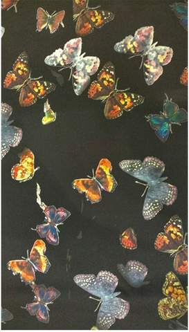 Moondance Butterflies on Black Silk Scarf