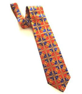 Pangborn Cigar Theme Necktie in orange and blue