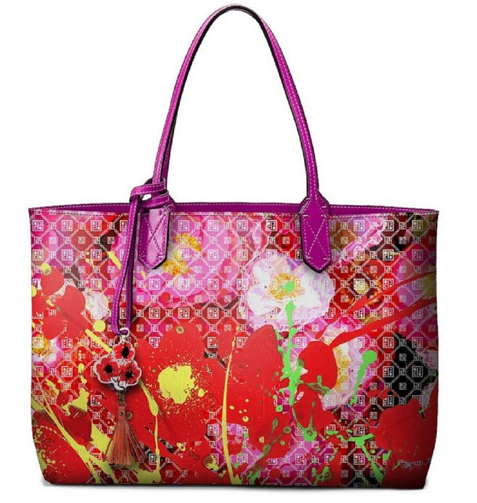 Pangborn Handbag - Red Poppies on Pink