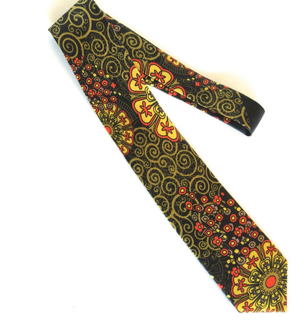 Pangborn Fascination Silk Tie in black, yellow