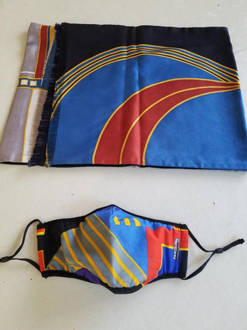 Geometrics Mask - Blue, Red, Yellow Lined SIlk Scarf