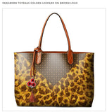 Leopard Pattern on Brown Tote Bag, Matching Silk Scarf