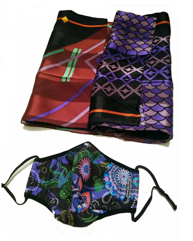 Paisley Face Mask - Geometrics on Black Silk Scarf