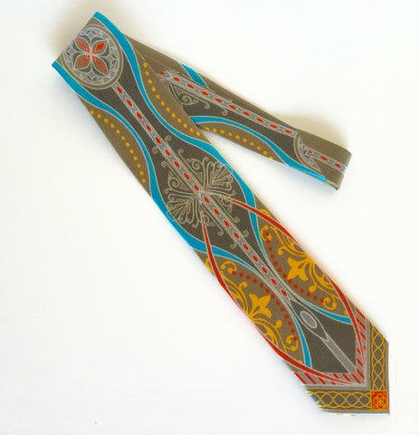 Pangborn Gratitude Silk Tie in gold, turquoise on taupe