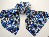 Pangborn Imperial Blue Poppies XL Oblong Silk Scarf