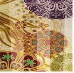 Kimono Flowers on Cream Silk Scarf