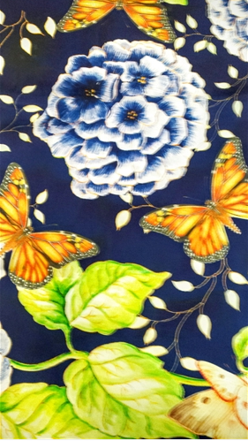 Butterflies on Royal Blue Silk Scarf