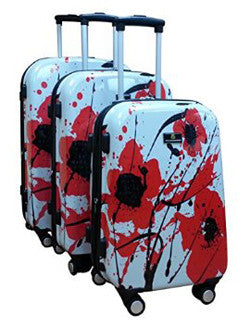 Pangborn Poppy Artwork Luggage Set