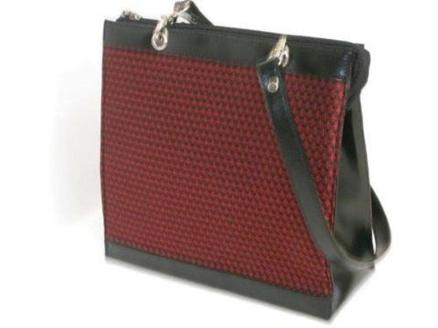 Pangborn Red and Black Silk with Leather Trim Handbag