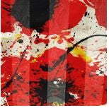 Red & Black Poppies on Pearl Silk Scarf