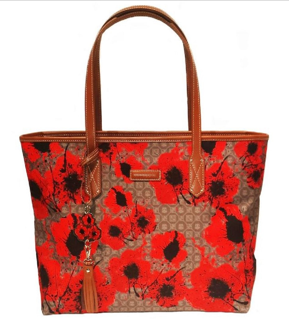 Pangborn Handbag - Red Poppies on Taupe