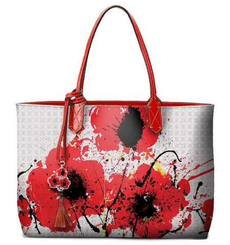 Pangborn Handbag - Red Poppies on Pearl